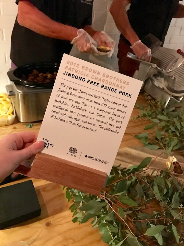 Jindong Free Range Pork Table at Brown Brothers Patricia Launch