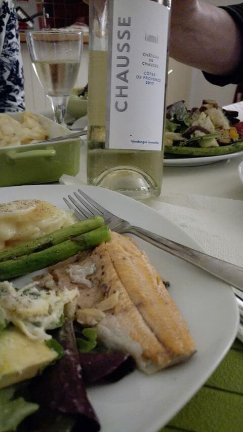 Chateau De Chausse White with BBQ trout - Lunch In Nice