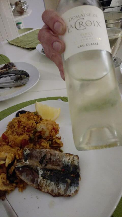 Domaine de la Croix Eloge blanc with BBQ sardines - Lunch in Nice - South of France - Nicola Heyes