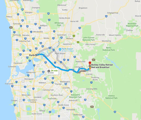 directions-from-perth-cbd-to-bickley-valley