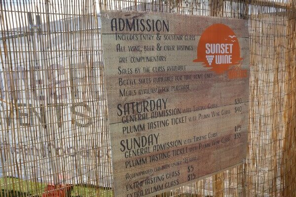 price sign for sunset wine and beer
